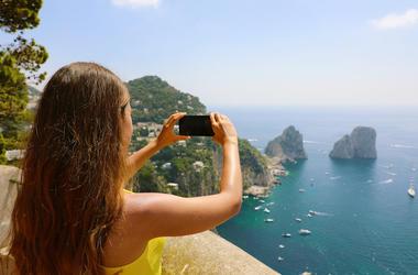 Girl, Taking Pictures, Vacation, Capri Island, Sea