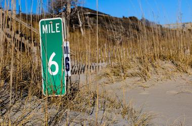 Mile Marker, Sand, Grass, Beach Dunes