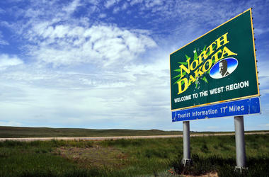 North Dakota, State, Welcome Sign, Field