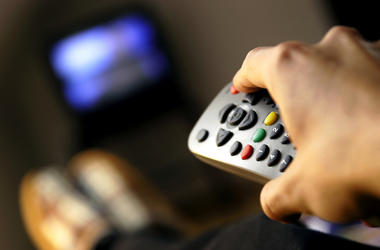 Man, Watching TV, Remote