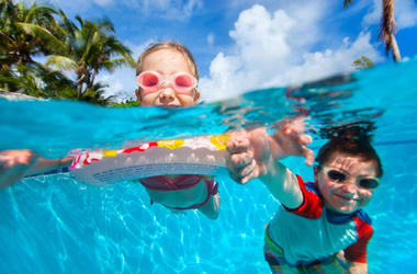 Kids, Swimming Pool, Goggles, Underwater