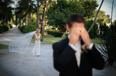 Bride, Groom, Wedding Day, First Look