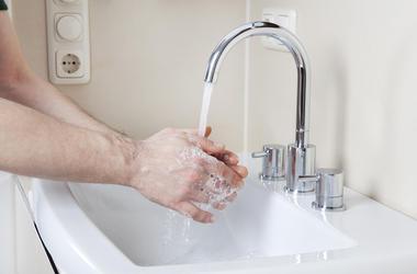 Washing Hands, Soap, Water, Sink, Male