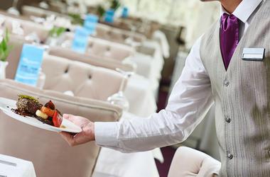 Restaurant, Waiter, Serving, Food, Plate