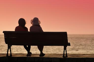 Women, Sitting, Bench, Lake, Sunset
