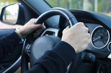 Driver, Hands, Grabbing Steering Wheel, Car, Interior