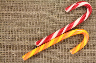 Candy Canes, Tablecloth, Red, White, Orange, Yellow