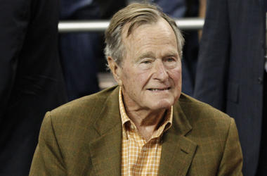 George HW Bush, President, Basketball Game, 2011, Suit, Smile