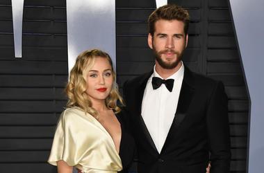 Miley Cyrus, Liam Hemsworth, Vanity Fair Oscar Party, 2018
