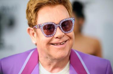 Elton John, Red Carpet, Smile, Purple,  Elton John Aids Foundation Midsummer Party, 2019