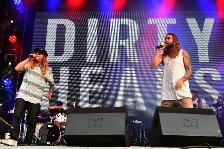 Dustin Bushnell (L) and Jared Watson of Dirty Heads perform onstage during day 3 of the Firefly Music Festival on June 20, 2015 in Dover, Delaware.