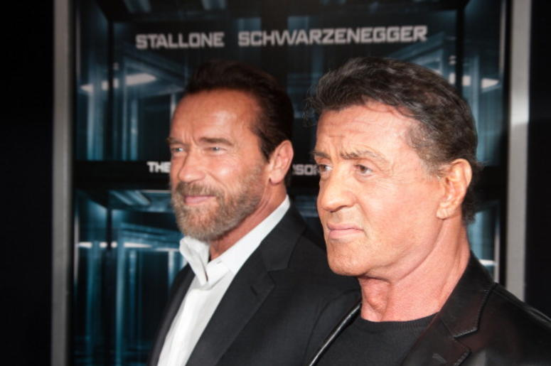 Actor Arnold Schwarzenegger and Sylvester Stallone