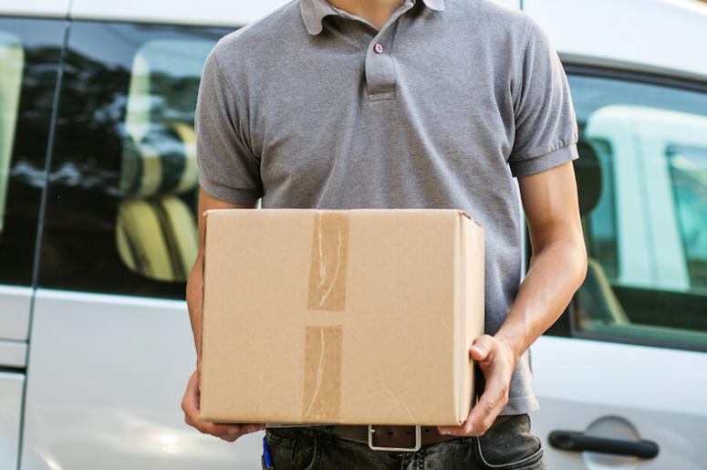 Delivery Man, Cardboard, Box, Vehicle