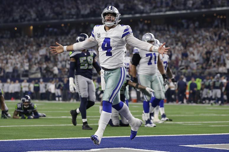 Dak Prescott, Dallas Cowboys, Touchdown, Celebration, Seattle Seahawks, Playoff, 2019