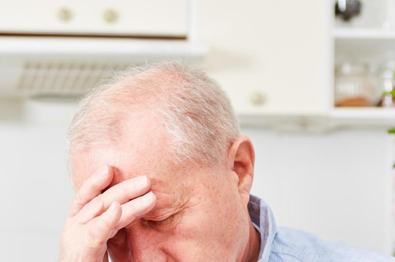 Old Man, Dementia, Hand on Head