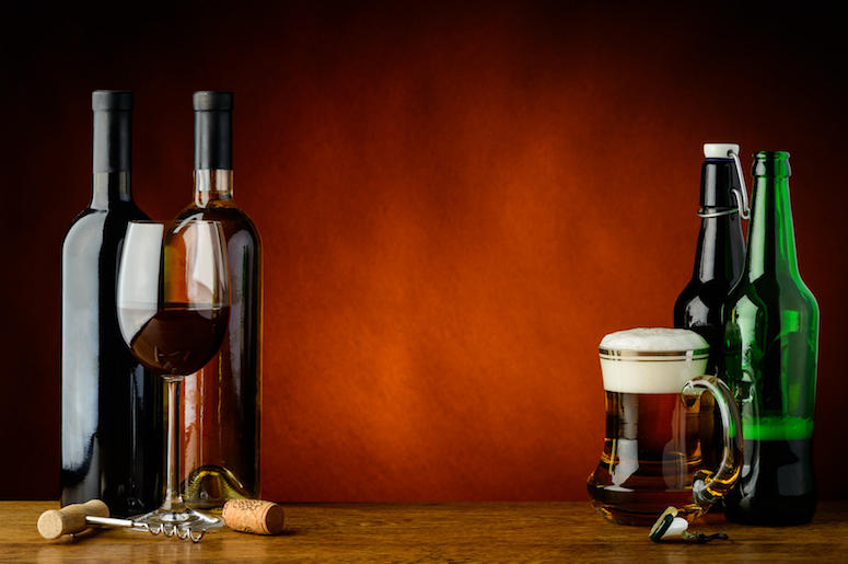 Beer, Wine, Bottles, Glasses