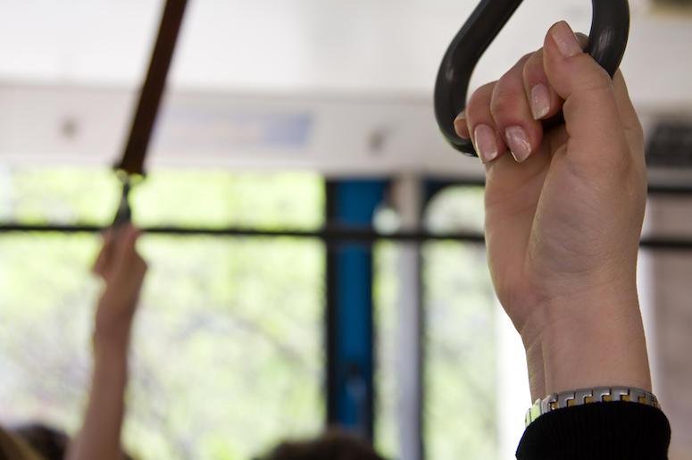 Public Transportation, Woman, Standing, Hand, Train, Bus