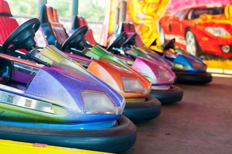Bumper Cars, Colorful, Amusement Park
