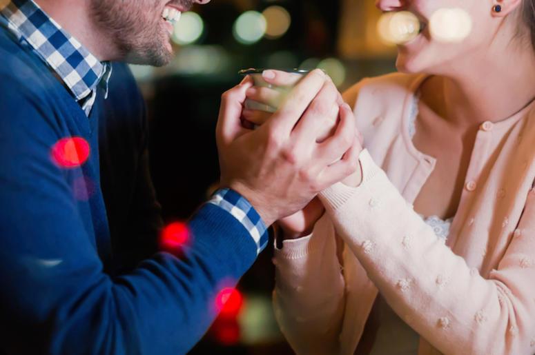 Man, Woman, Smiling, Talking, Holding Hands, Bar