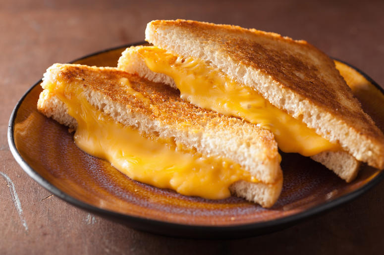 Grilled Cheese, Sandwich, Plate, Gooey