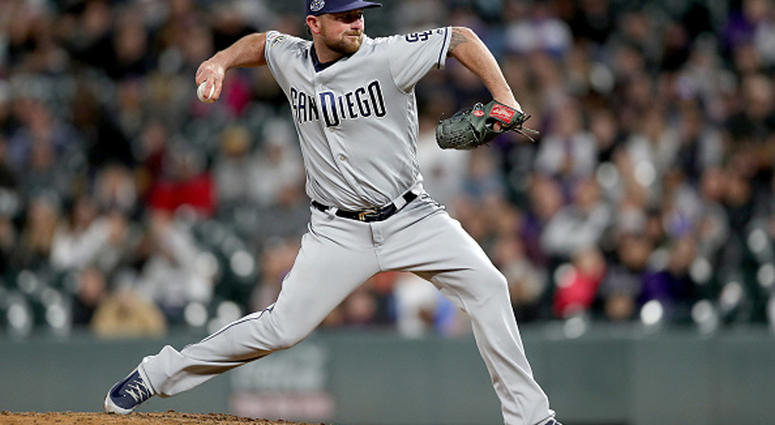 MAY 11: Pitcher Kirby Yates #39 of the San Diego Padres throws in the ninth inning against the Colorado Rockies at Coors Field on May 11, 2019 in Denver, Colorado. (Photo by Matthew Stockman/Getty Images)