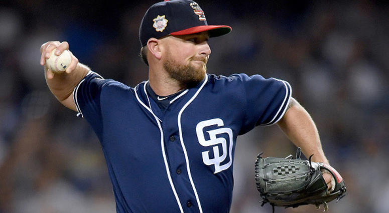JULY 05: Kirby Yates #39 of the San Diego Padres pitches in relief against the Los Angeles Dodgers during the ninth inning at Dodger Stadium on July 05, 2019 in Los Angeles, California. (Photo by Harry How/Getty Images)