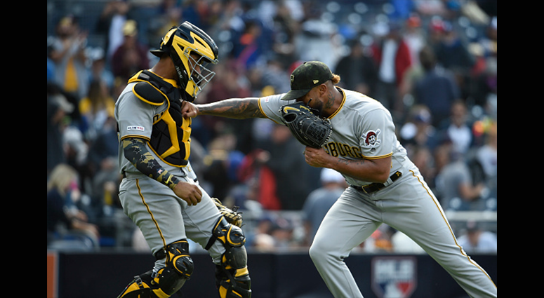 MAY 19: Felipe Vazquez #73 of the Pittsburgh Pirates is congratulated by Elias Diaz #32 after defeating the San Diego Padres 6-4 at Petco Park May 19, 2019 in San Diego, California. (Photo by Denis Poroy/Getty Images)