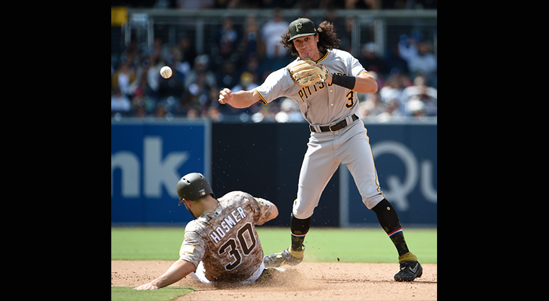 MAY 19: Cole Tucker #3 of the Pittsburgh Pirates turns a double play over Eric Hosmer #30 of the San Diego Padres in the sixth inning at Petco Park May 19, 2019 in San Diego, California. (Photo by Denis Poroy/Getty Images)