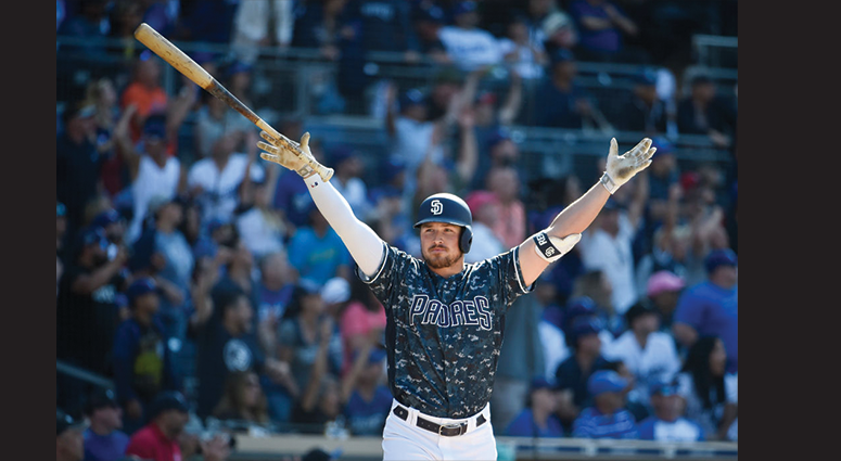 Hunter Renfroe #10 of the San Diego Padres celebrates after hitting a grand slam walk off home run during the ninth inning of a baseball game against the Los Angeles Dodgers at Petco Park May 5, 2019 in San Diego, California. The Padres won 8-5. (Photo by