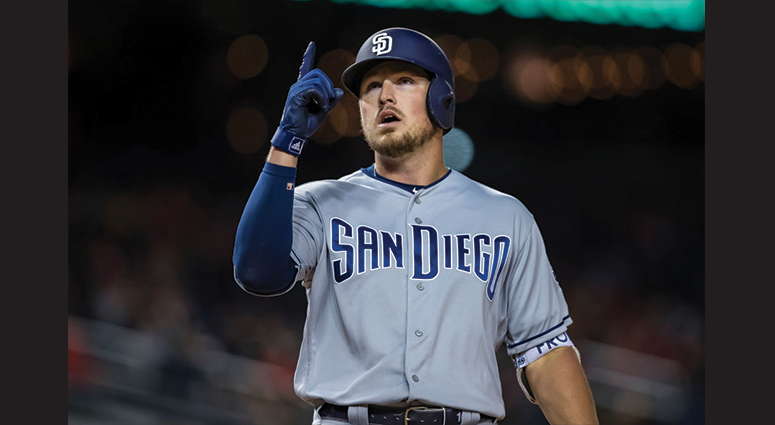 Hunter Renfroe #10 of the San Diego Padres reacts after hitting a home run against the Washington Nationals during the ninth inning at Nationals Park on April 26, 2019 in Washington, DC. (Photo by Scott Taetsch/Getty Images)