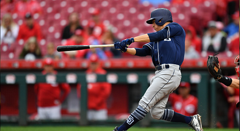 SEPTEMBER 9: Luis Urias #9 of the San Diego Padres hits a two-run home run in the fourth inning against the Cincinnati Reds at Great American Ball Park on September 9, 2018 in Cincinnati, Ohio. (Photo by Jamie Sabau/Getty Images)