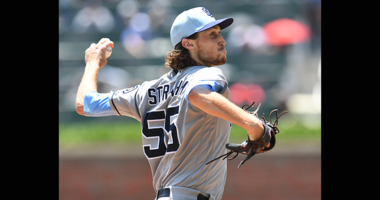 Matt Strahm #55 of the San Diego Padres throws a first inning pitch against the Atlanta Braves at SunTrust Field on June 17, 2018 in Atlanta, Georgia. (Photo by Scott Cunningham/Getty Images)