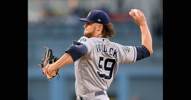 Chris Paddack #59 of the San Diego Padres pitches against the Los Angeles Dodgers during the first inning at Dodger Stadium on May 14, 2019 in Los Angeles, California. (Photo by Harry How/Getty Images)