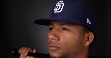 FEBRUARY 21: Francisco Mejia #27 of the San Diego Padres poses for a portrait during photo day at Peoria Stadium on February 21, 2019 in Peoria, Arizona. (Photo by Christian Petersen/Getty Images)