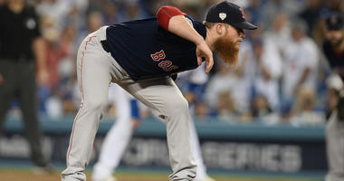 Craig Kimbrel gets ready to deliver a pitch for the Boston Red Sox in the 2018 World Series.