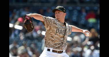 MAY 19: Robbie Erlin #41 of the San Diego Padres pitches during the sixth inning of a baseball game against the Pittsburgh Pirates at Petco Park May 19, 2019 in San Diego, California. (Photo by Denis Poroy/Getty Images)