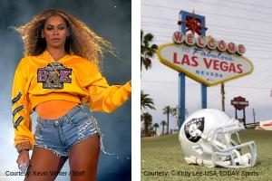 Beyonce Performing and Raiders Helmet