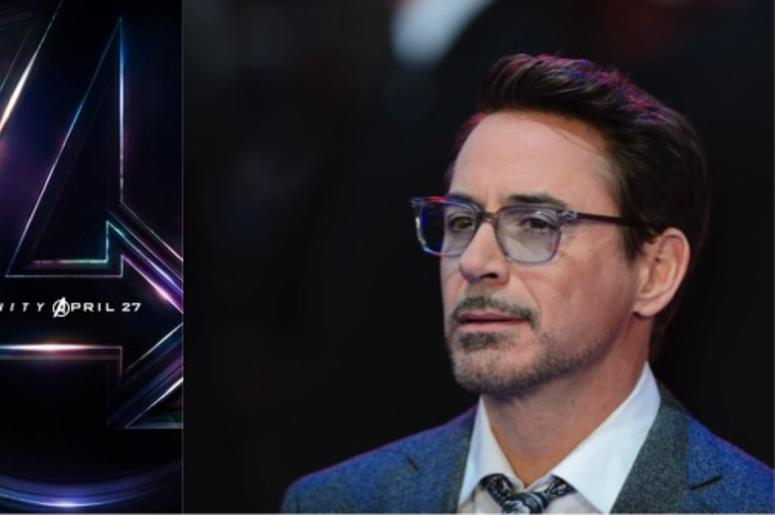 """Marvel's movie poster for """"Avengers: Infinity War"""" and actor Robert Downey Jr."""
