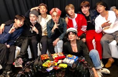 BTS and Halsey backstage at the Billboard Music Awards