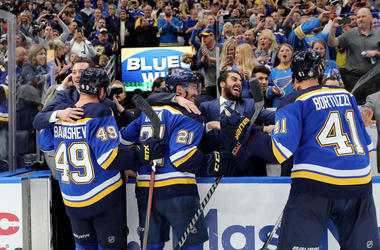 Blues celebrate a victory after winning western conference final.
