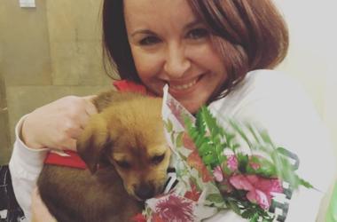 Jill Devine with her puppy gram on Valentine's Day