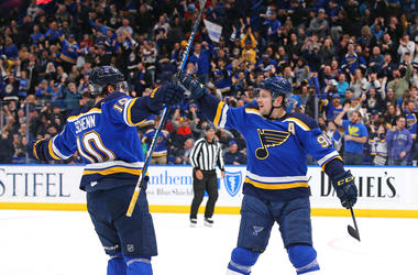 Goal celebration from St. Louis Blues.