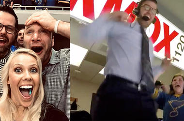 St. Louis Blues fan react to game winning goal in game 7