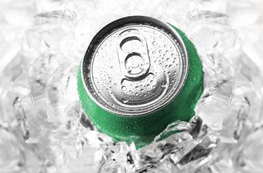 green soda can in ice