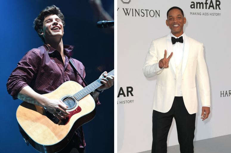Recording artist Shawn Mendes performs at the American Airlines Arena. / Will Smith during the 24th amfAR Gala at the 70th Cannes Film Festival.