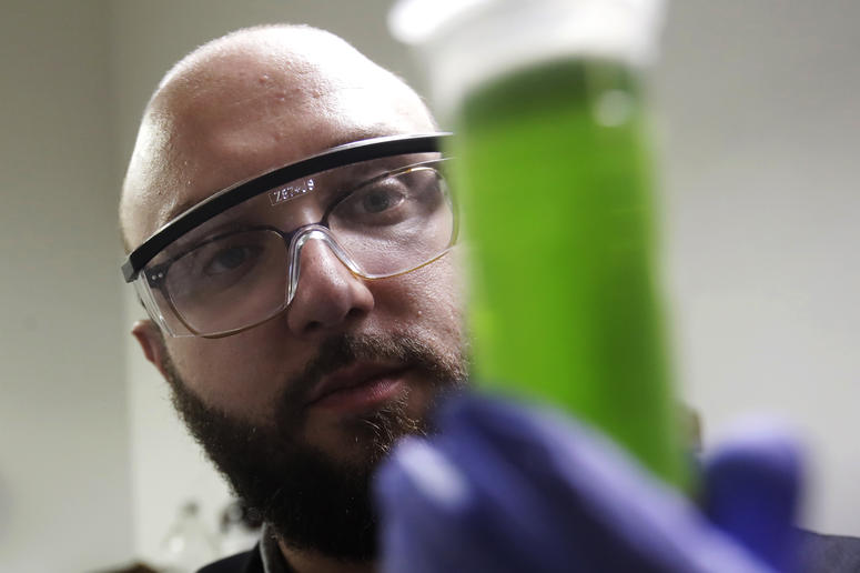 In this Friday, Aug. 16, 2019, photo, chemist David Dawson holds up a vial of extracted cannabis with an organic solvent as he demonstrates testing for THC and other chemicals at CW Analytical Laboratories in Oakland, Calif.