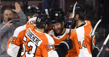 Philadelphia Flyers left wing Claude Giroux (28) along with center Nolan Patrick (19), defenseman Shayne Gostisbehere (53), and center Sean Couturier (14).