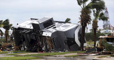 Aug 26, 2017; Corpus Christi, TX, USA; Mobile homes are destroyed at an RV park after Hurricane Harvey landed in the Coast Bend area.