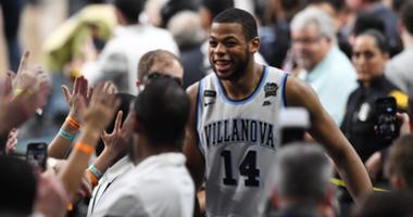 Mar 31, 2018; San Antonio, TX, United States; Villanova Wildcats forward Omari Spellman (14) celebrates with fans after defeating the Kansas Jayhawks in the semifinals of the 2018 men's Final Four at Alamodome.