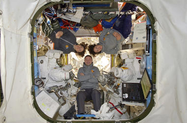 Astronauts Andrew Morgan, Christina Koch and Jessica Meir are shown at the International Space Station on Friday, Oct. 18, 2019.